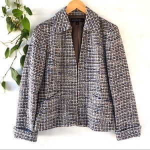 Lafayette 148 tan and blue boucle blazer size 6P